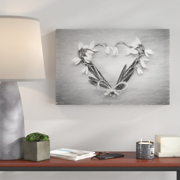Home Loft Concept Flower Heart Wall Art On Canvas