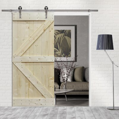 Solid Wood Room Divider Pine Interior Barn Door With Hardware Kit Verona Home DesignVerona