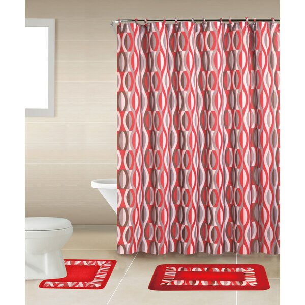 Ebern Designs Rosella 15 Piece Shower Curtain Set   Reviews   Wayfair. Maroon Shower Curtain Set. Home Design Ideas