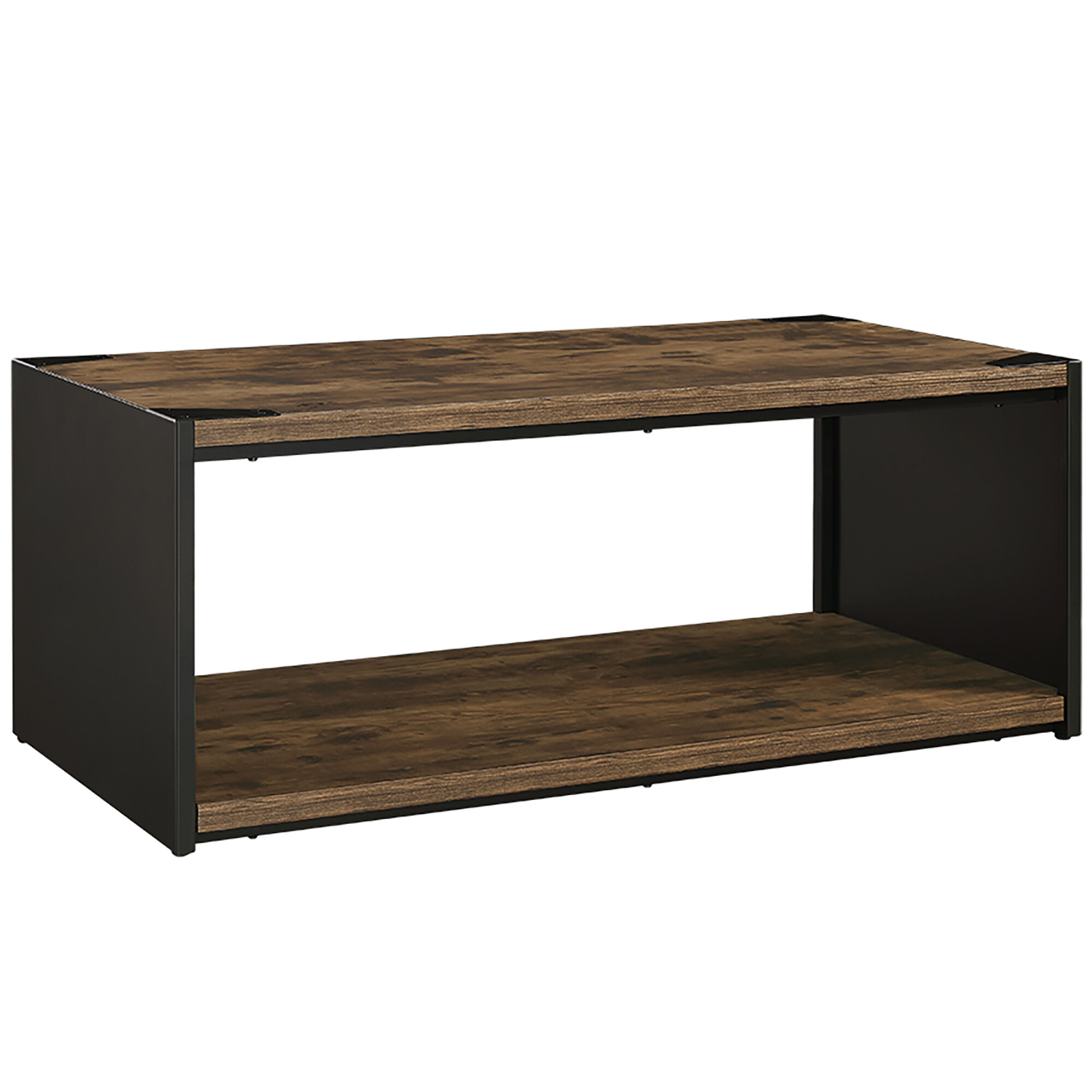 Union Rustic et Steel Plate and Wood Coffee Table & Reviews