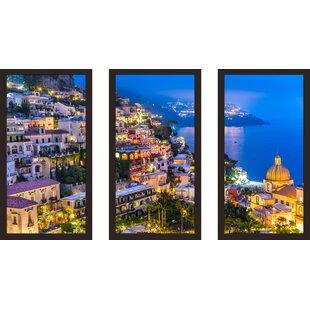 Positano village at Amalfi Coast Italy 1  3 Piece Framed Photographic Print Set  sc 1 st  Wayfair & Italy u0026 Venice Wall Art Youu0027ll Love | Wayfair
