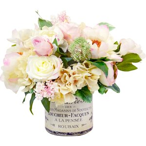 Peony and Hydrangea French Label Pot