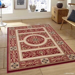 Hubbard High-End Ultra-Dense Thick Woven Floral Red Area Rug