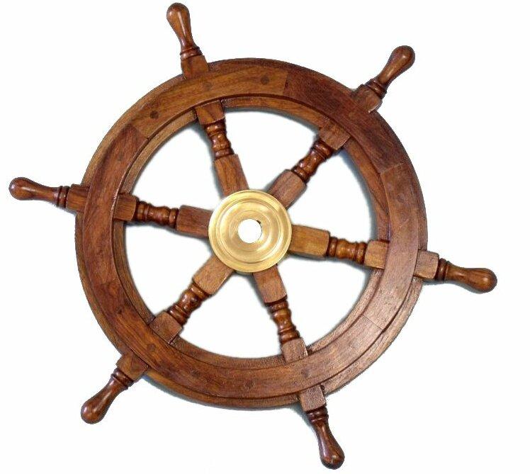 Brownbrass wood ship wheel wall dcor reviews birch lane brownbrass wood ship wheel wall dcor aloadofball Choice Image