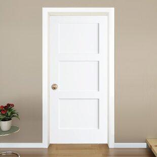 Interior doors youll love wayfair 3 panel shaker solid wood paneled slab interior door planetlyrics Choice Image