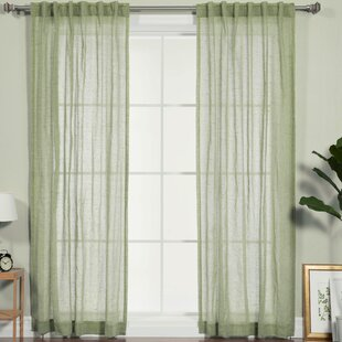 Faux Pippin Linen Solid Sheer Rod Pocket Curtain Panels Set Of 2