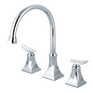 Just Manufacturing Double Handle Widespread Deck Mounted Kitchen Faucet with Pop-up Drain