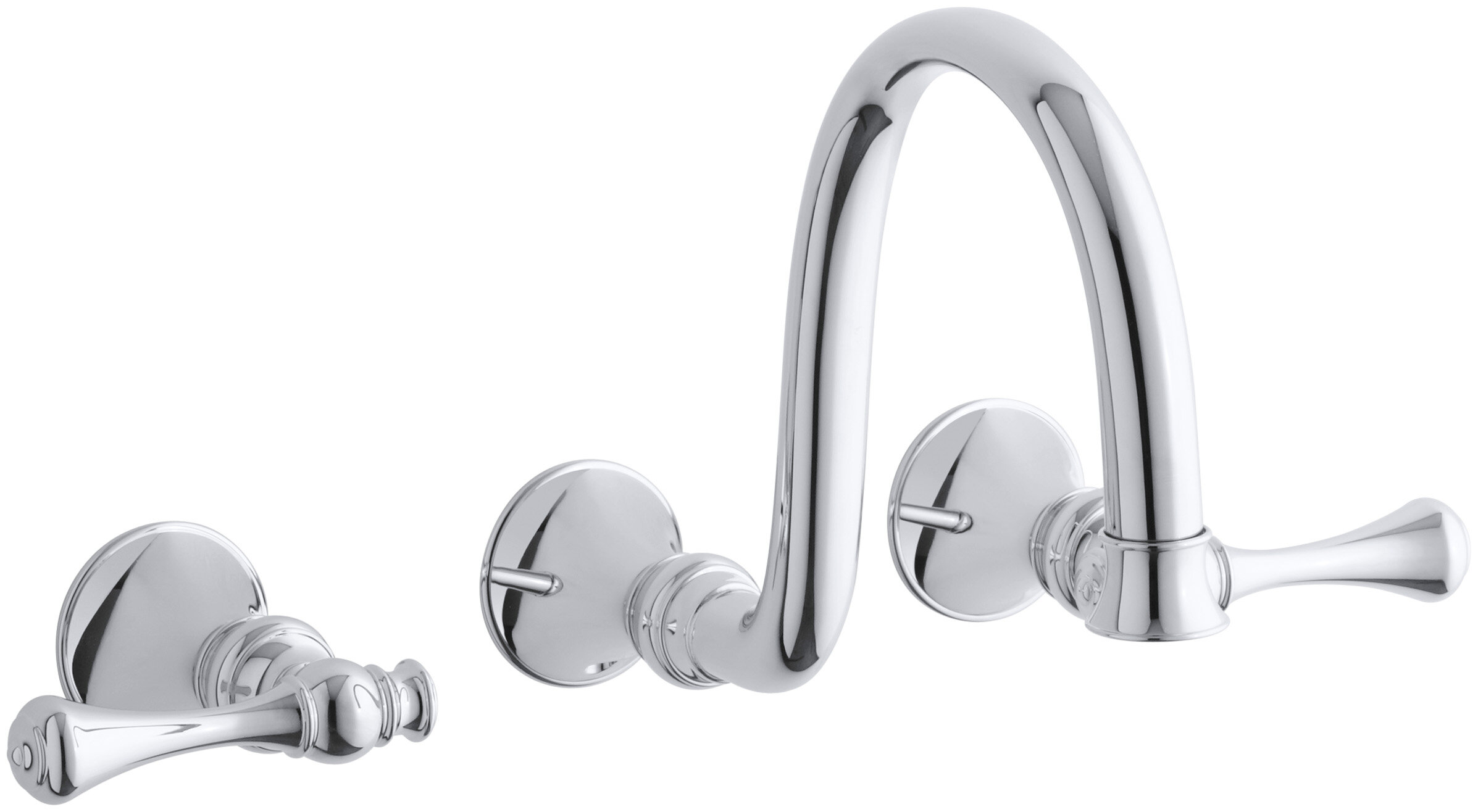 Kohler Revival Wall Mount Bathroom Sink Faucet Trim With Traditional Lever Handles And 9 Spout Requires Valve Wayfair