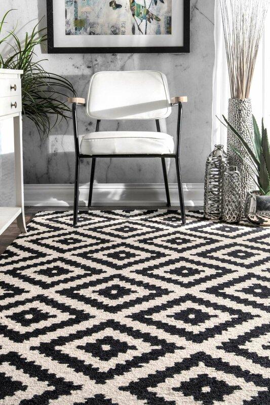 nice black white rug. Obadiah Hand Tufted Wool Black Area Rug Mercury Row  Reviews