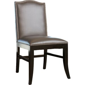 Liston Side Chair in Grey Leather by Darby Home Co