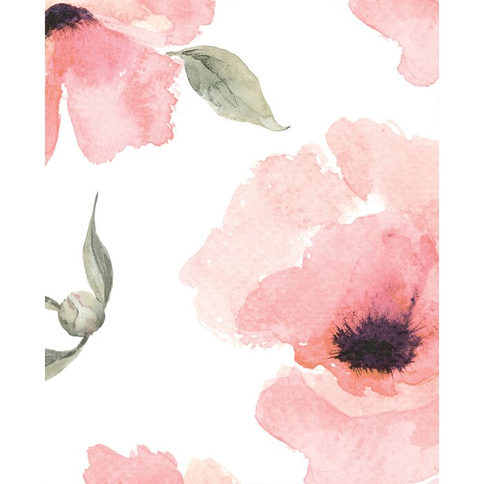 House of hampton jiles watercolor poppy flowers 4 l x 24 w matte jiles watercolor poppy flowers 4 l x 24 w matte peel and stick wallpaper mightylinksfo