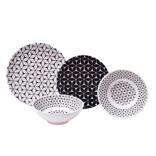 Strata 12 Piece Melamine Dinnerware Set Service for 4  sc 1 st  Wayfair & Black Dinnerware Sets Youu0027ll Love | Wayfair