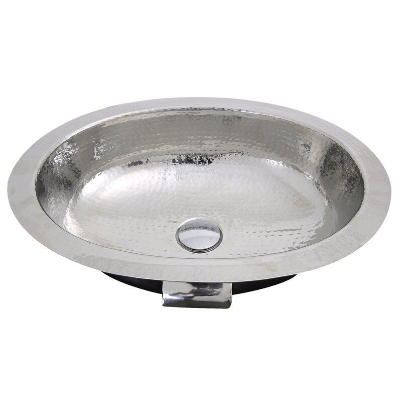 Merveilleux Hand Hammered Stainless Steel Oval Undermount Bathroom Sink With Overflow