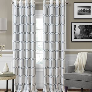 Kaiden Geometric Room Darkening Thermal Grommet Single Curtain Panel