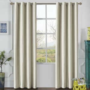 Odyssey Solid Blackout Thermal Grommet Single Curtain Panel (Set of 2)
