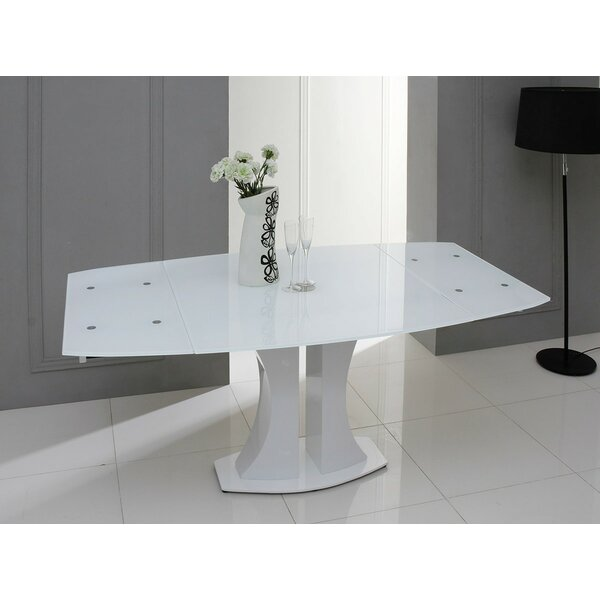 Orren Ellis Camron Modern Extendable Glass Top Dining Table Reviews