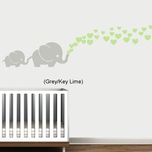 Maddie Elephants With Colored Heart Bubbles Wall Decal Part 95