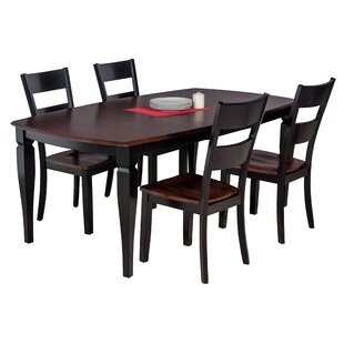 Besse 5 Piece Solid Wood Dining Set With Curved Back Chair Purchase