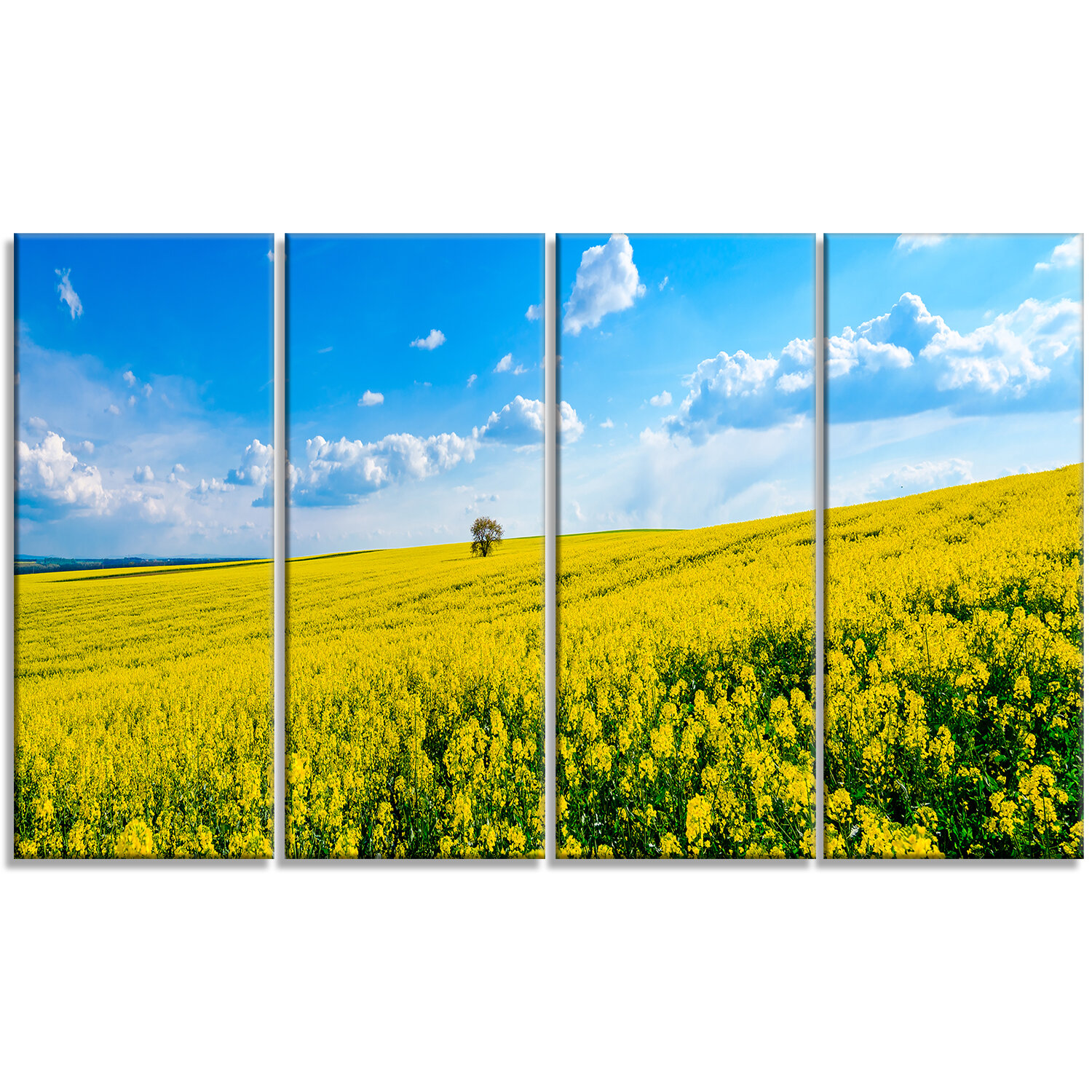 DesignArt \'Lone Tree in Blooming Cozla Park\' 4 Piece Wall Art on ...