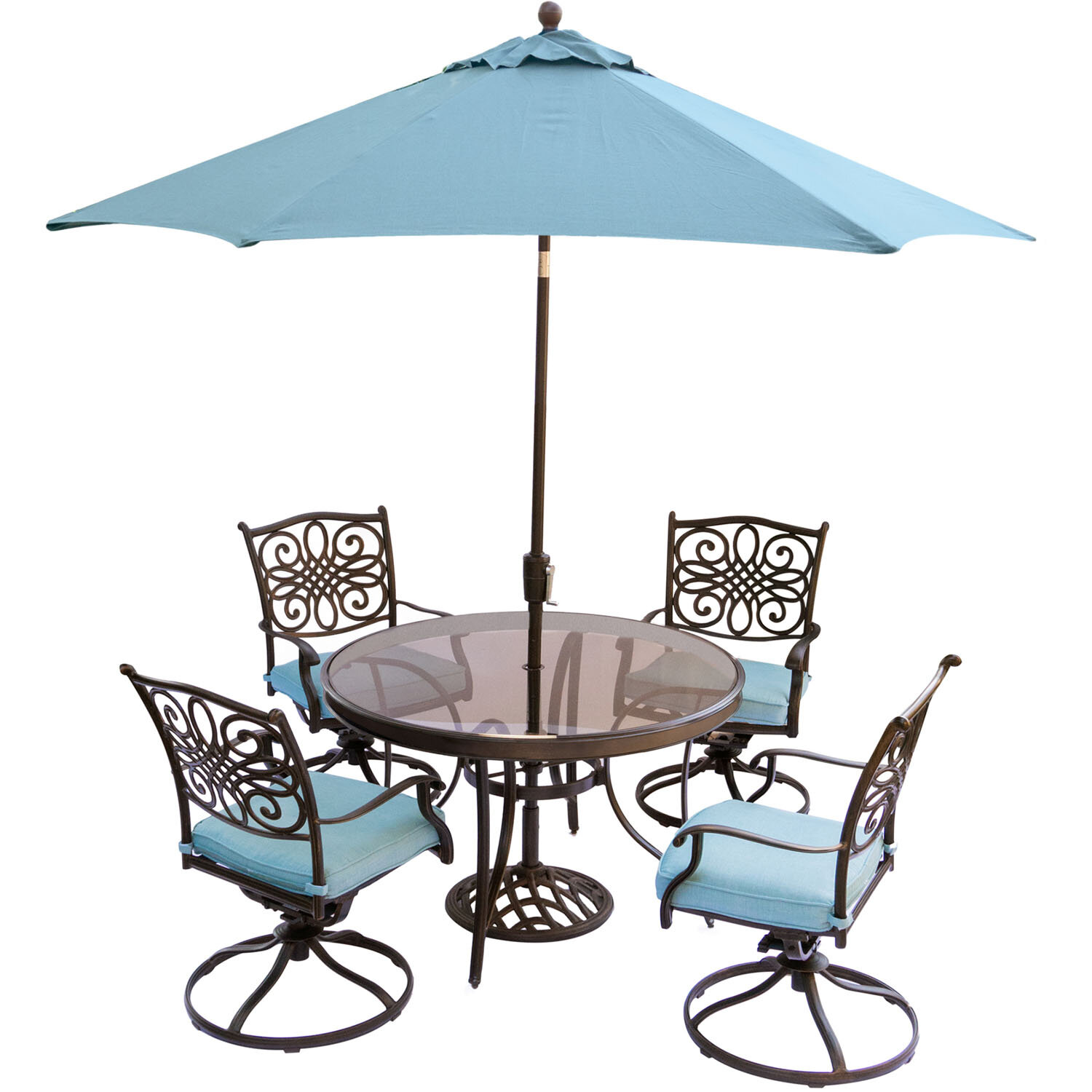 Three posts lauritsen 5 piece dining set with cushions and umbrella wayfair