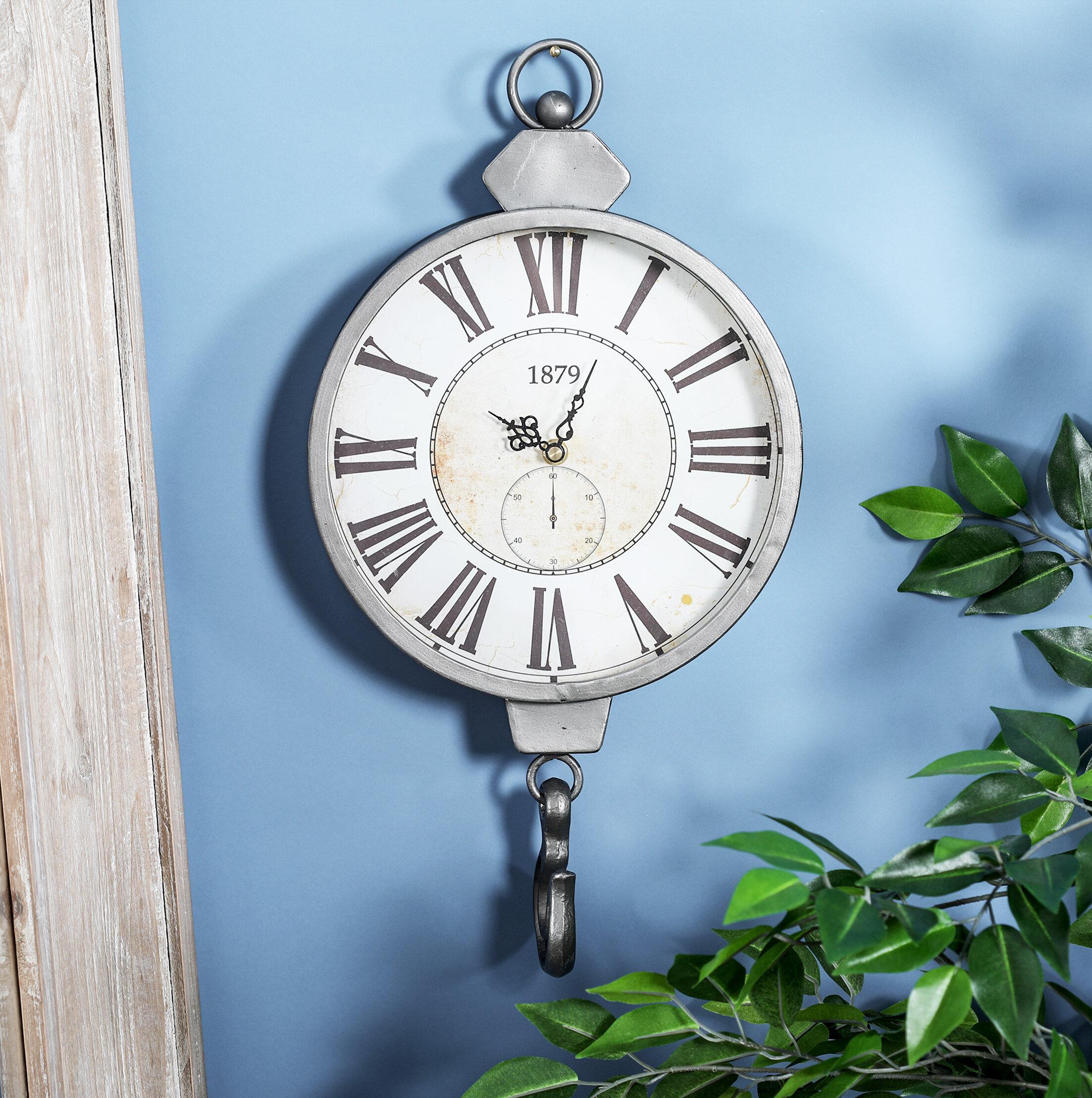 Alcott Hill Burgett Rustic Vintage Wall Clock with Hook & Reviews ...