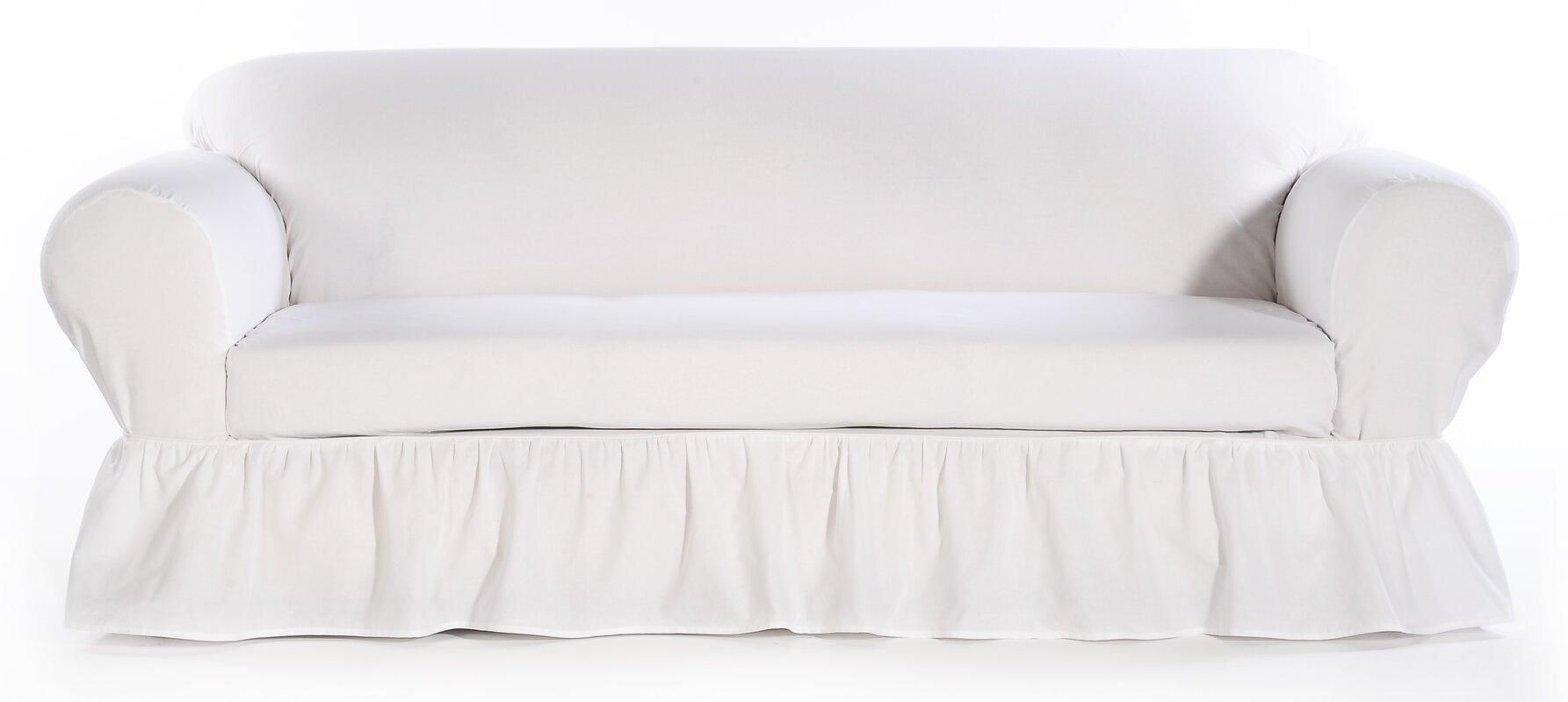 August Grove Sofa Skirted Box Cushion Slipcover Amp Reviews