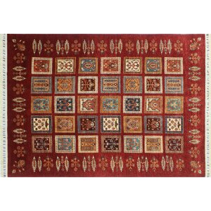 One-of-a-Kind Acer Hand-Knotted Geometric Red Area Rug