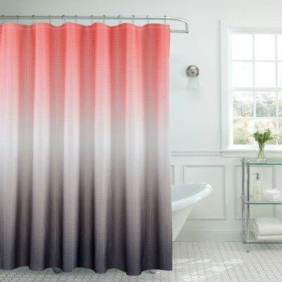 Bath Fusion Ombre Shower Curtain Color: Coral/Gray