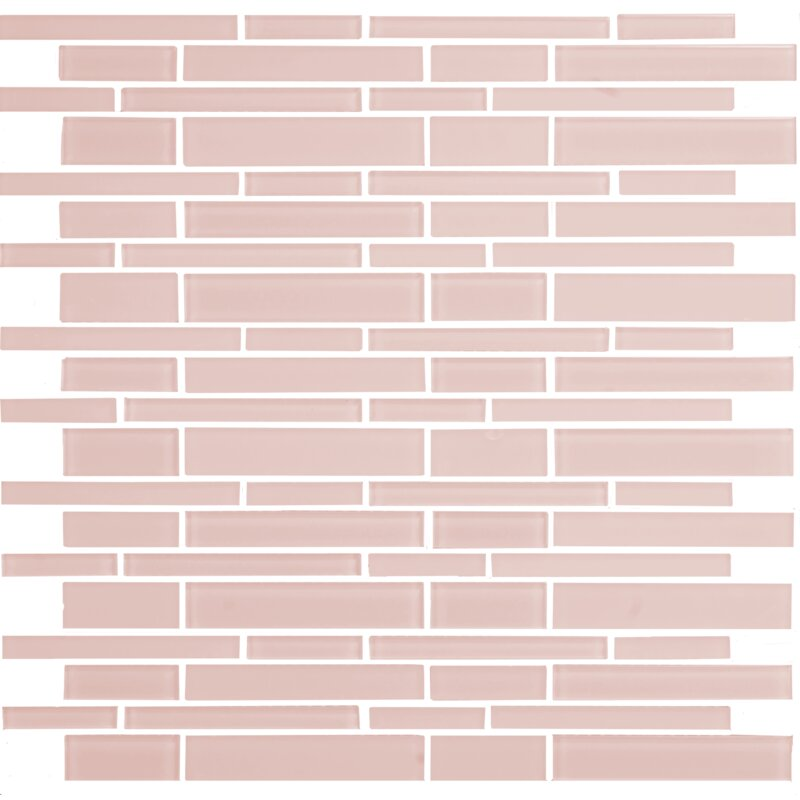 12 X Mosaic Gl Subway Tile In Glossy Pink