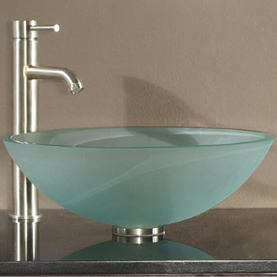 Tempered Glass Vessel Circular Vessel Bathroom Sink With Overflow
