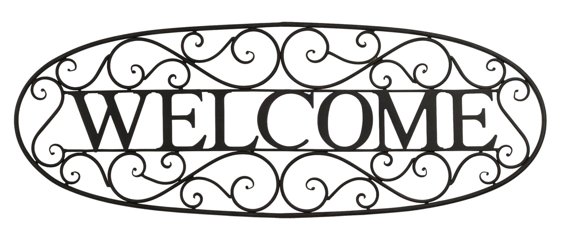 Black Wrought Iron Wall Decor bayaccents welcome sign wrought iron wall décor & reviews | wayfair