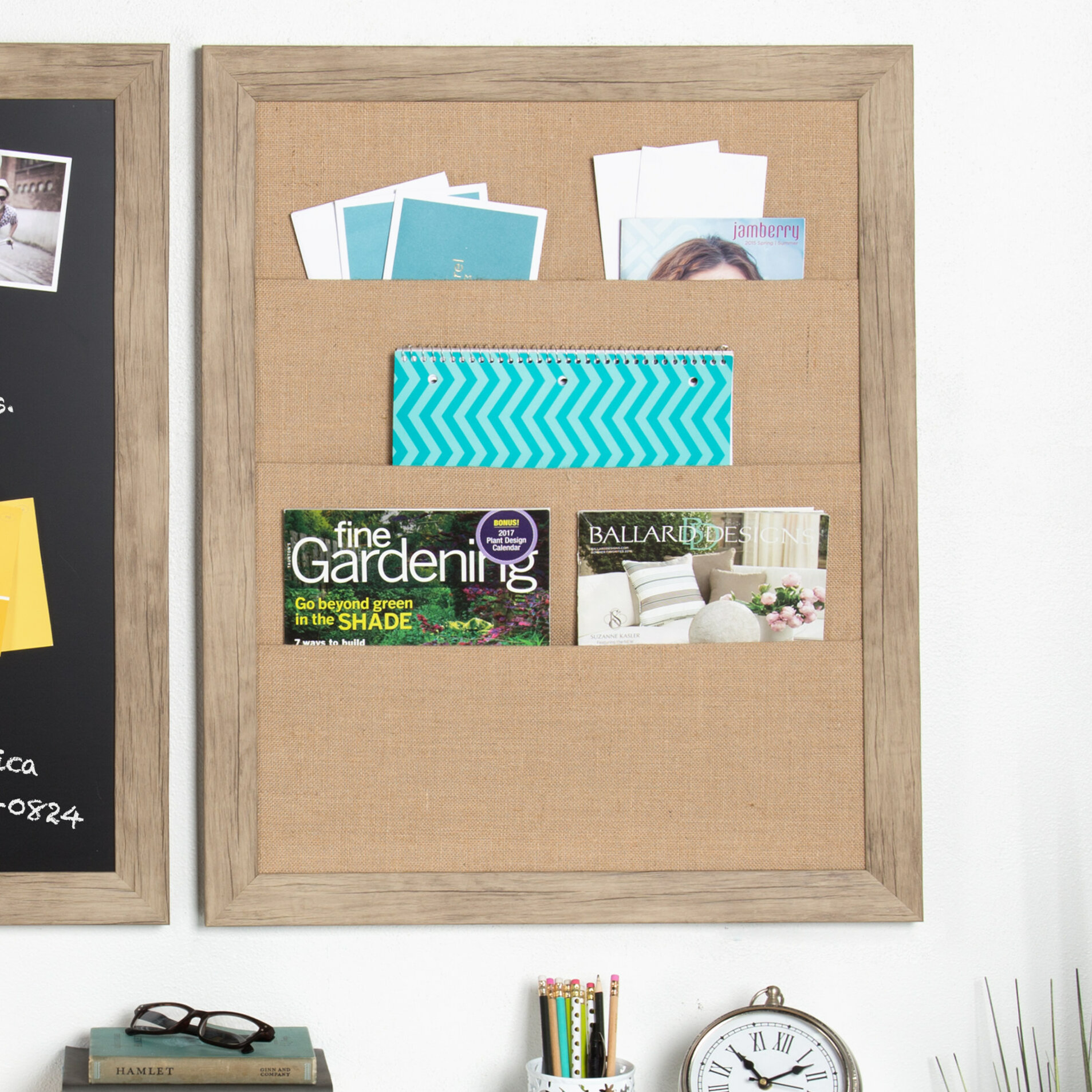 Union Rustic Framed Burlap Pocket Wall Mounted Bulletin Board Wayfair