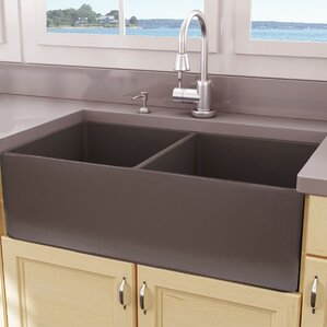 Cape 33 X 18 Double Bowl Farmhouse Fireclay Kitchen Sink