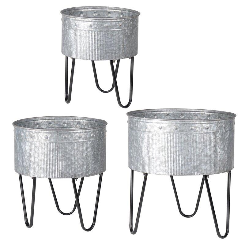 3 Piece Galvanized Metal Bucket Set