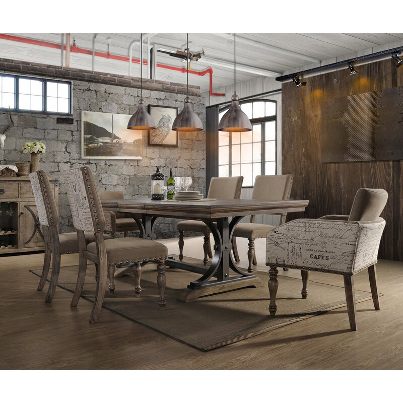 One Allium Way Dasher 7-Piece Butterfly Leaf Table with Nail Head ...