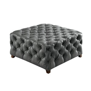 Khader Square Tufted Leather Ottoman by Willa Arlo Interiors
