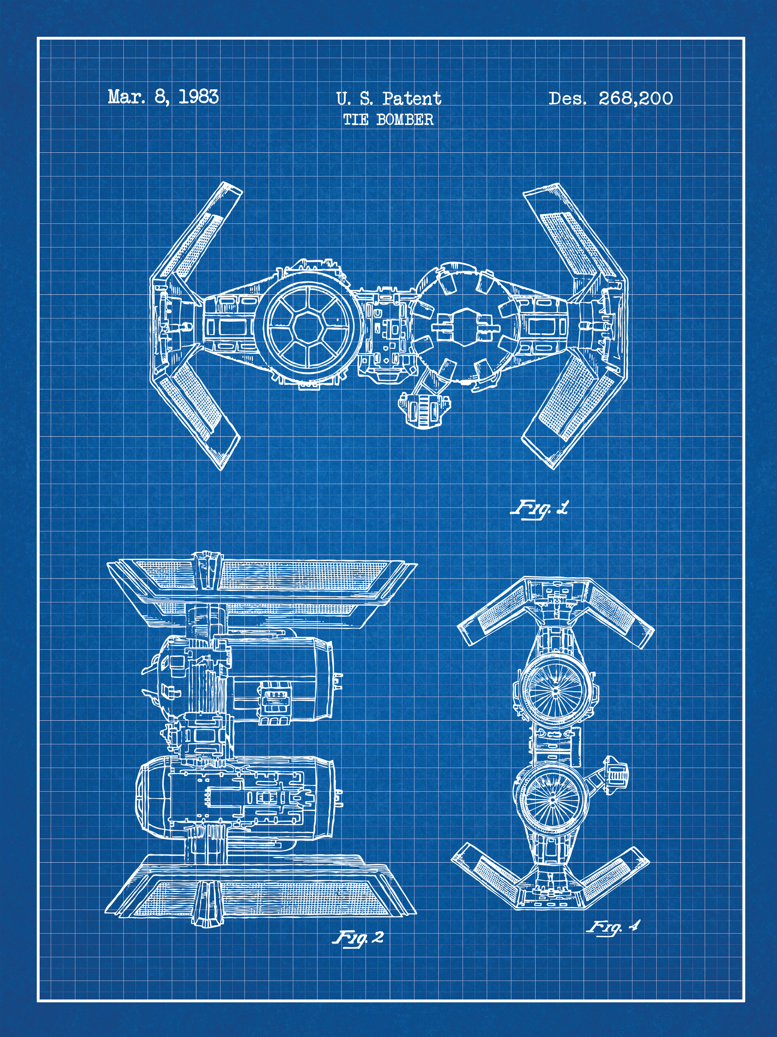 Inked and screened star wars tie bomber blueprint graphic art wayfair malvernweather Gallery