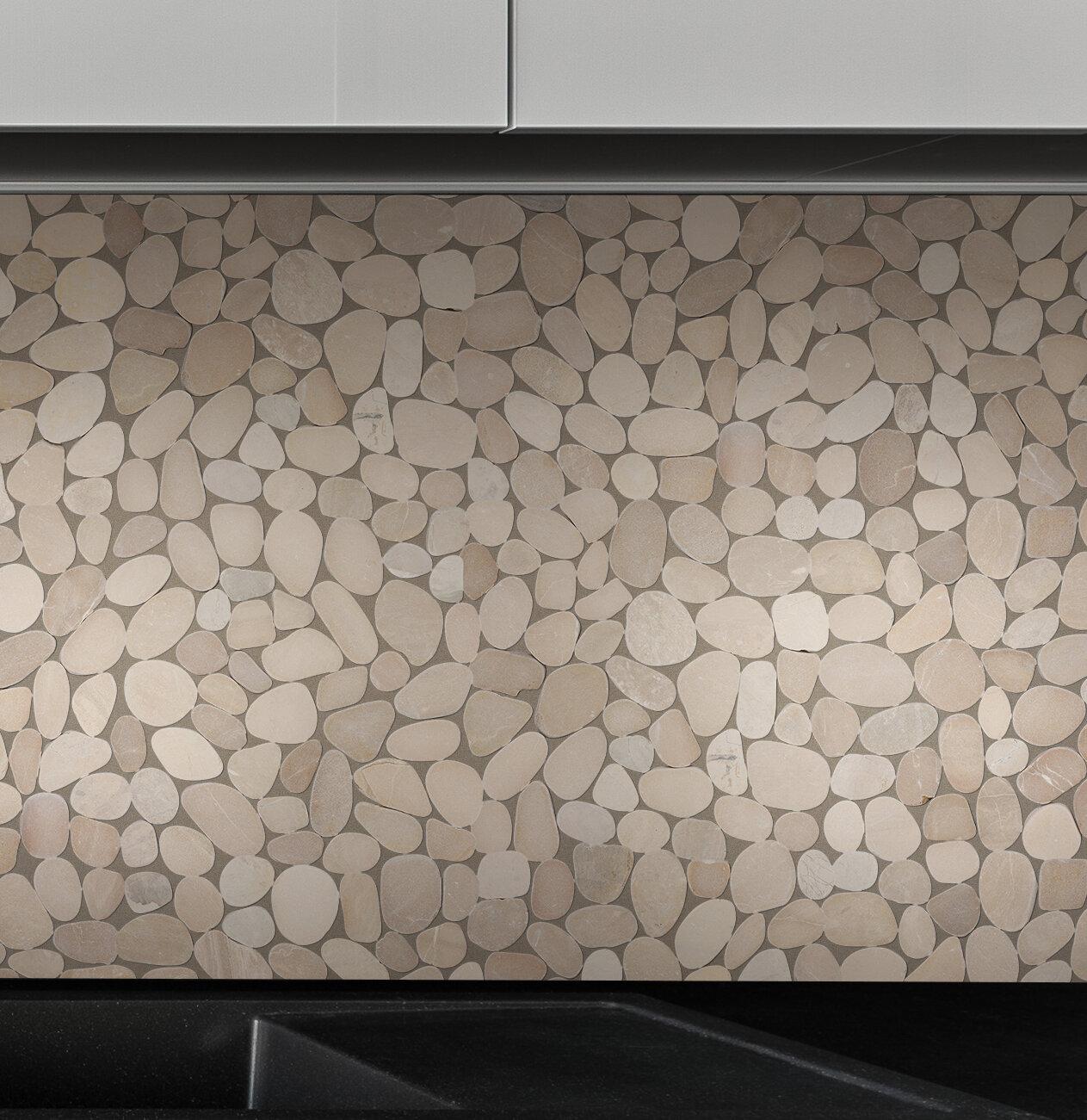 Pebble tile sliced pebble random sized natural stone pebble tile in tan reviews wayfair