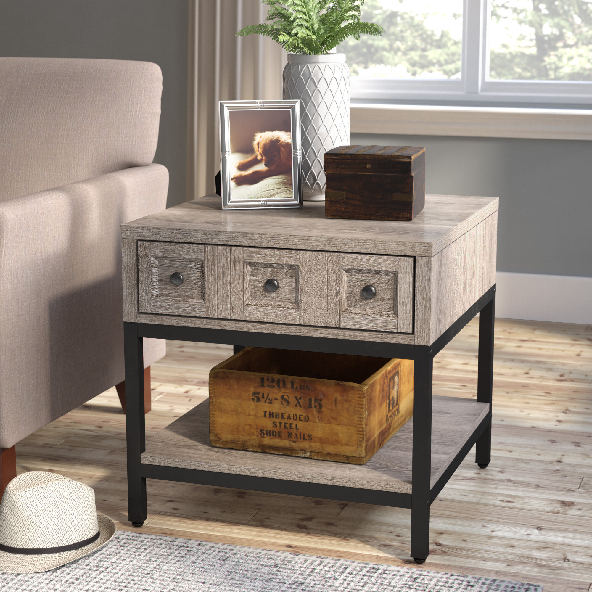 end tables with storage Laurel Foundry Modern Farmhouse Omar End Table With Storage  end tables with storage