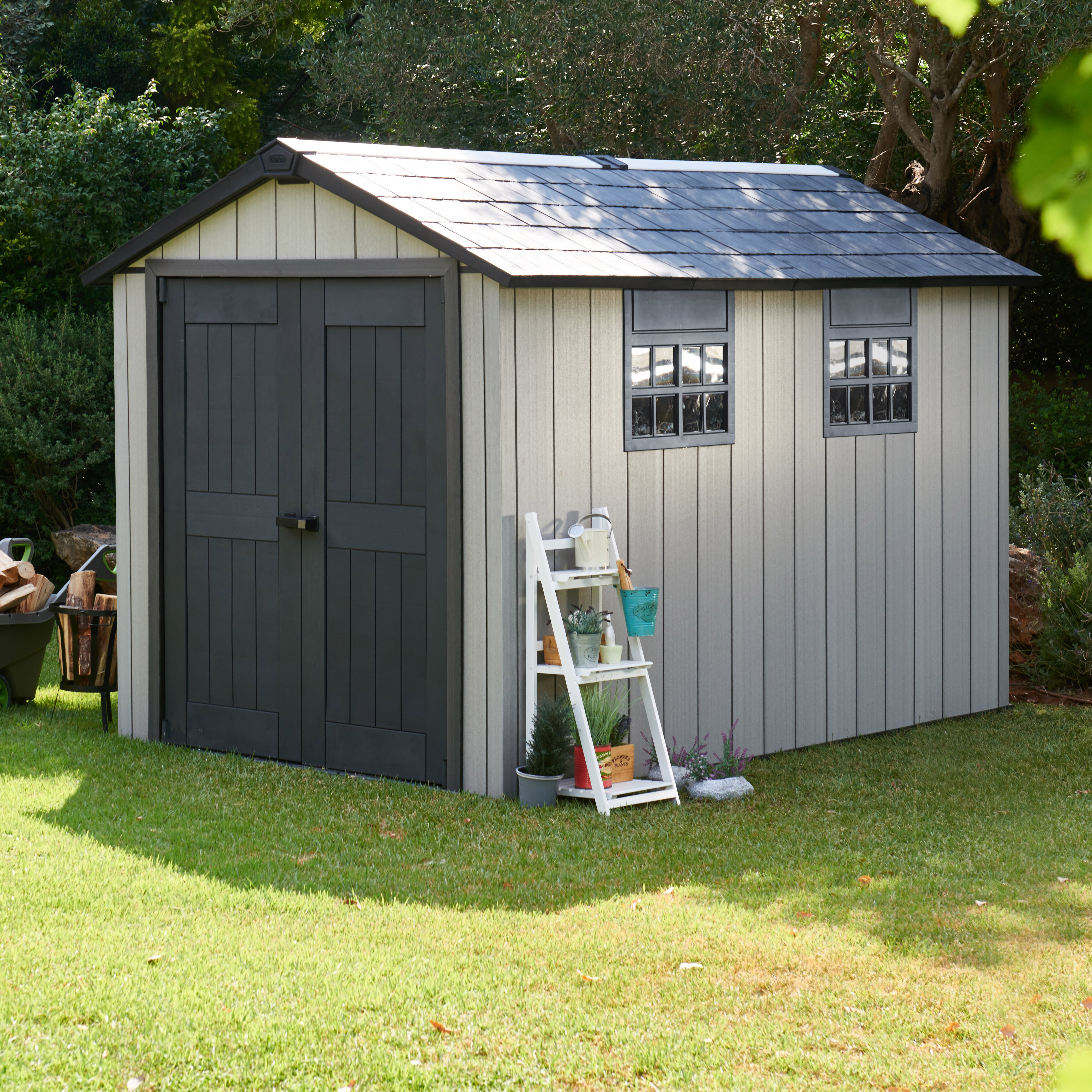 2be7fe3caa0f Keter Oakland 11.5 ft. W x 7.9 ft. D Plastic Storage Shed & Reviews ...