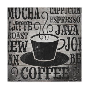 Coffee Phrases Cup Textual Art On Wrapped Canvas