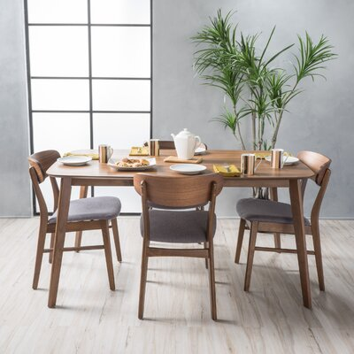 Brayden Studio Ado 5 Piece Solid Wood Dining Set Table Color: Natural Walnut, Chair Finish: Dark Gray