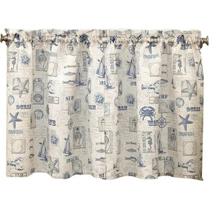 By The Sea Printed Ocean Beach Kitchen Tier Curtain (Set Of 2)