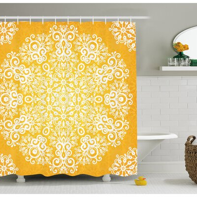Snowflake Like Floral Artsy Pattern Design With Indian Inspired Artwork Shower Curtain Set