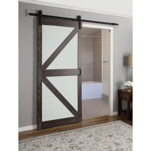 erias home designs continental frosted glass 1 panel ironage laminate interior barn door reviews wayfair - Frosted Glass Barn Door