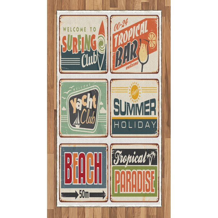 Ambesonne Retro Area Rug, Summer Holiday Vintage Camping Beach Sign Boards  In Old Style Faint Colours Art Print, Flat Woven Accent Rug For Living Room