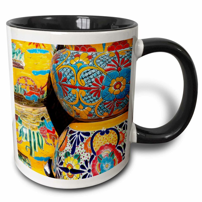 Arizona Tucson Tubac Traditional Handpainted Mexican Pottery Coffee Mug