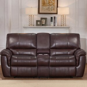 Deverell Leather Reclining Loveseat by World..