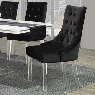 Crystal Studded Velvet Upholstered Side Chair