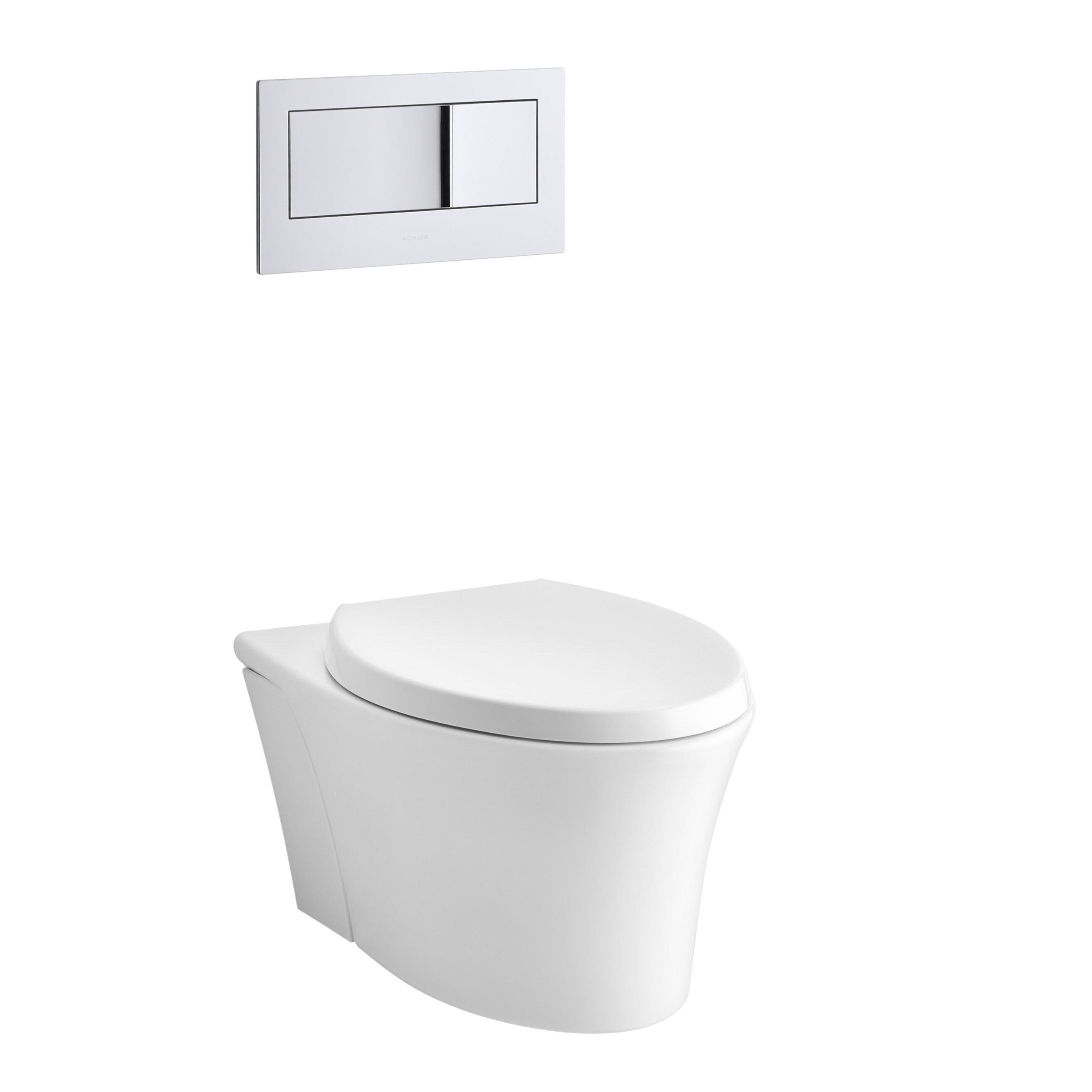 K 6299 0 7 96 Kohler Veil One Piece Elongated Dual Flush Wall Hung Toilet With Reveal Quiet Close Seat Reviews Wayfair